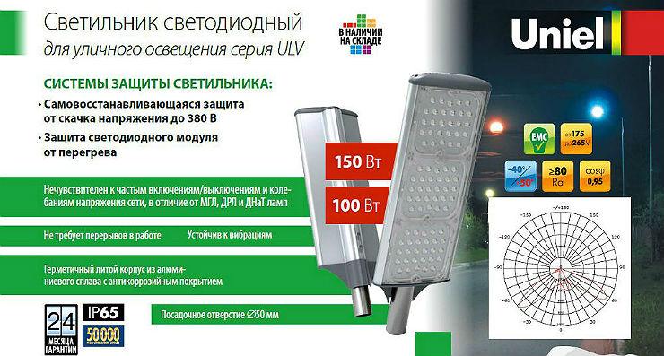 Светодиодные светильники уличного освещения ULV-R71J Uniel